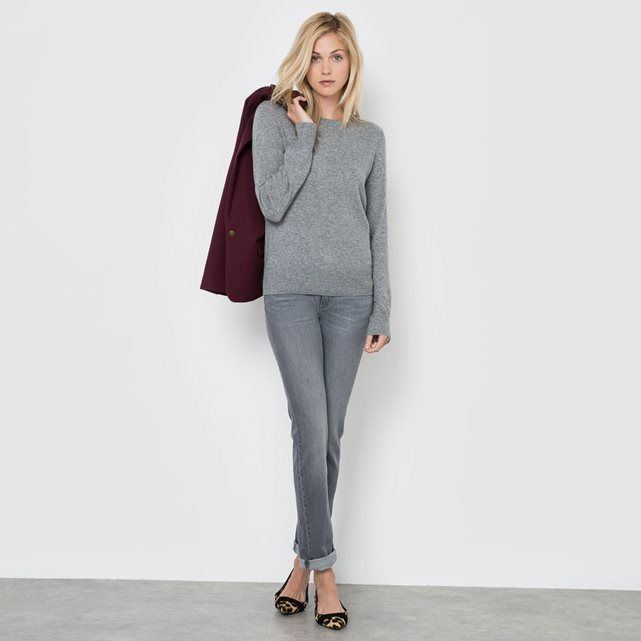 R essentiel - Pull pure laine cachemire col rond manches longues | La Redoute