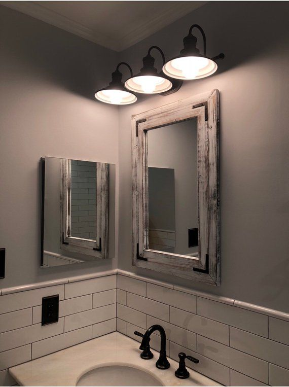 Whitewash Mirror Bathroom Wood Frame Mirror Rustic Wood