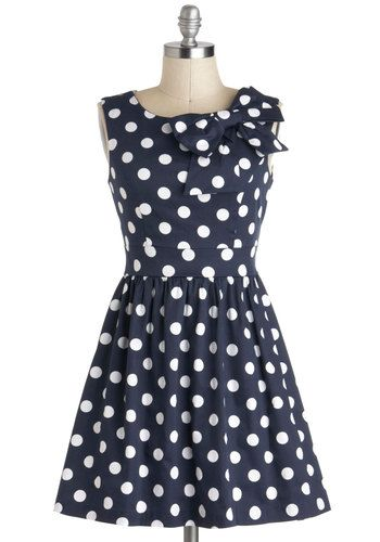 Adorable vintage inspired dress. The Pennsylvania Polka Dress in Navy Dots $59.99