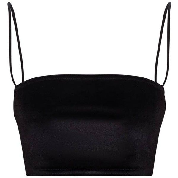 Black Velvet Strappy Crop Top (61055 PYG) ❤ liked on Polyvore featuring tops, strappy top, strap crop top, velvet top, spaghetti-strap tops and velvet crop top