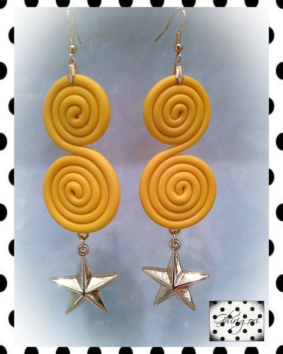 yellow polymer clay earrings star shape by ghjrigori on Etsy, $35.00