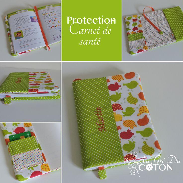 Housse de protection pour carnet de santé  Dimensions : 16cm x 21,5cm Tissus : Cotons  Vous pouvez retrouver cet article sur la boutique en ligne : http://augreducoton.fr/boutique/accessoires/protege-carnet-sante/
