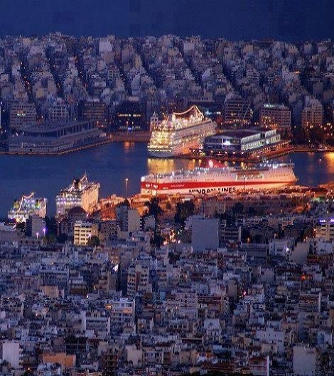 Piraeus port by Night