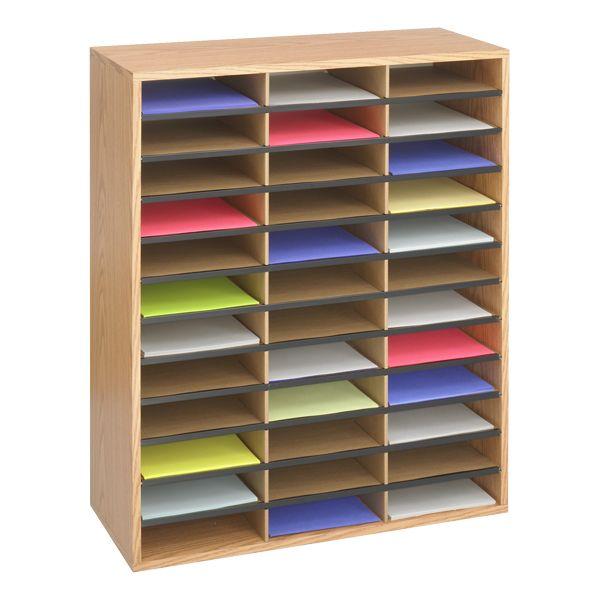 Wood/Corrugated Literature Organizer (36 Compartments)