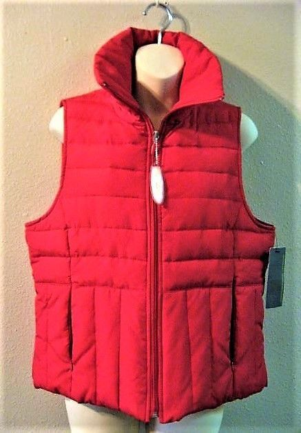 Kenneth Cole Reaction Women's Vest Red Quilted Puffy Down Feathers L Large #KennethColeReaction