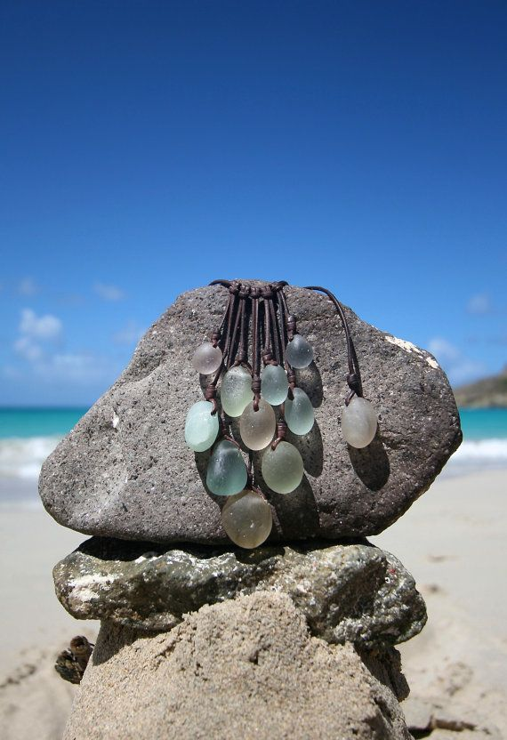 Tumbled ancient sea glass grape necklace, genuine ancient sea glass, beach jewelry, bubble sea glass, sea glass and leather, boho jewelry. on Etsy, $380.00