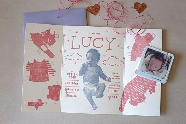 Lucy's Paper Doll-Themed Birth Announcements | Design by Heather Cranston / Harry Canary Co. and Letterpress Printing by Everlovin' Press