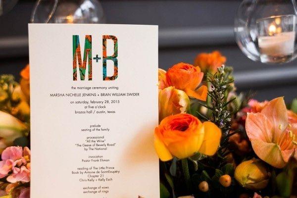 Whimsical Burnt Orange Wedding Invitation Logo