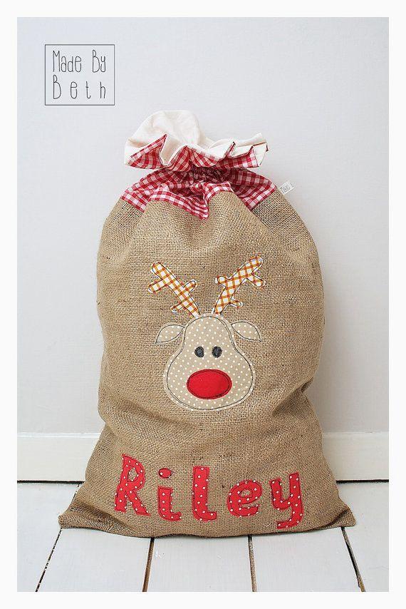 Personalised Christmas sack by MadebyBethshop on Etsy, £25.00