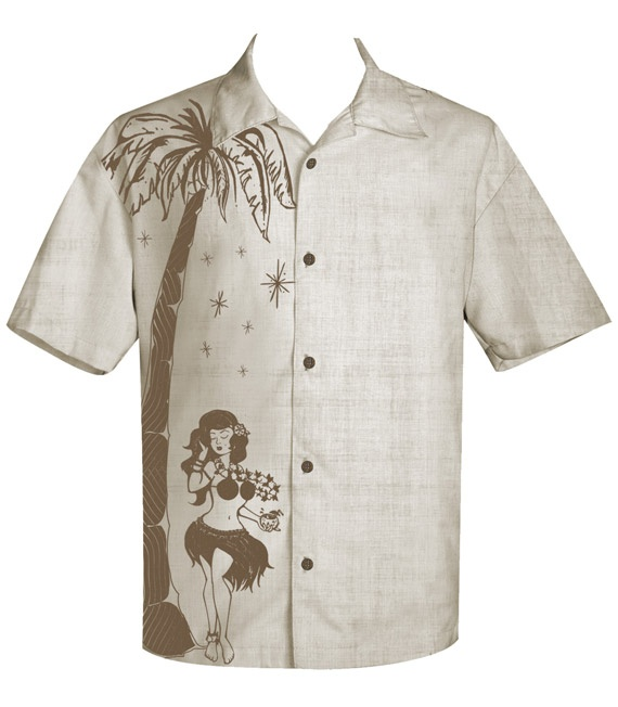 Tan Hula Honey Tiki Button Up by Steady Clothing