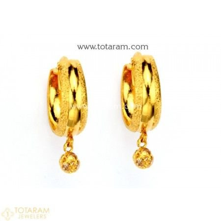e68bb7599f96bd Gold Hoop Earrings (Ear Bali) with Cz in 22K Gold - 235-GER8589 - Buy this  Latest Indian Gold Jewelry Design in 2.850 Grams for a low price of $196.65