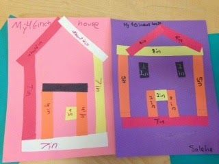 """For a fun, low prep, measurement assessment, I had students create houses or flowers out of construction paper strips. I pre cut a bunch of strips. They had to measure out pieces with a ruler and cut them, to construct their picture, and write the inch amount on each strip. Then at the end, they needed to add up all the parts and title their picture. such as, """"My 45 Inch House."""""""