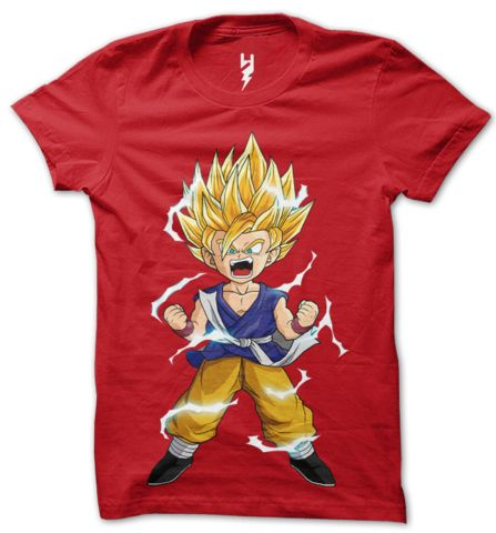 """""""Guardian of the city, I am the one and only... Great Saiyaman!""""  Gohan's hair stands straight up with the exception of one lock that hangs down, and he is surrounded by aura electricity all the times.  Wear this awesome t-shirt and get the powers """"Gohan The Great Saiyaman"""""""