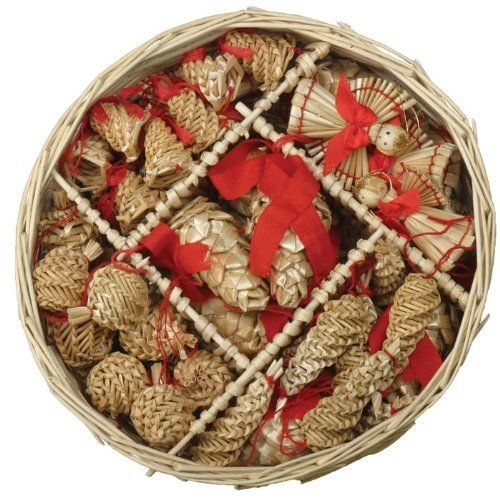 Christmas Straw Ornaments Set of 46 pieces  Wicker Basket