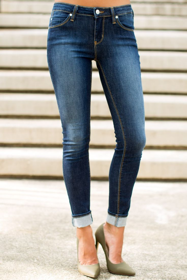 Stand Tall Faded Indigo Skinny Jeans at reddressboutique.com