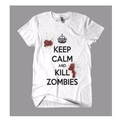 Camiseta Keep Calm And Kill Zombies - Em Algodão - R$ 22,90