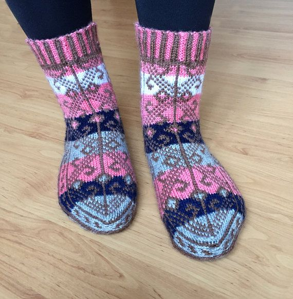 These socks / slippers knitted from 50 % wool and 50 % acrylic yarn with 5 knitting-needles. These socks are very thick, warm, cozy and unique. US 5-7.5 women size is ready for shipping, the other sizes will be ready for shipping in 1 to 2 weeks. Care:These socks can be