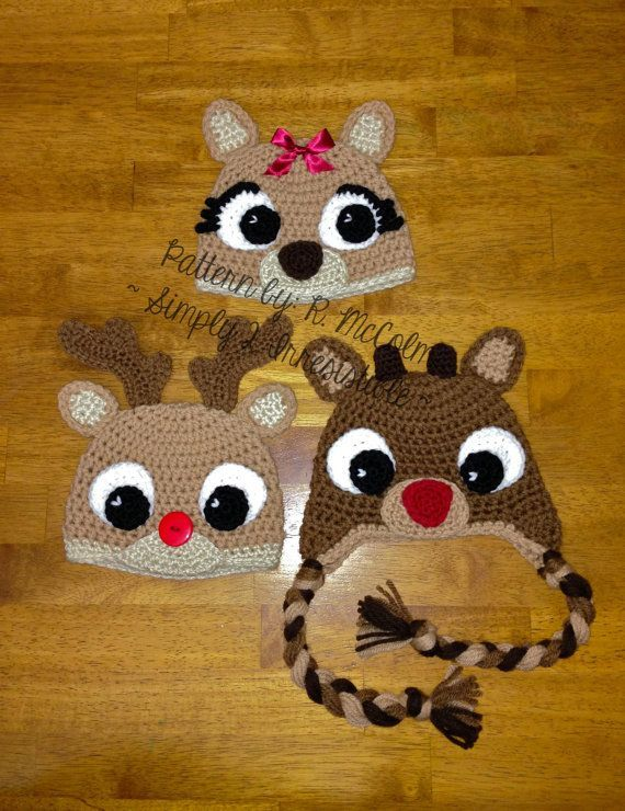 Rudolph Reindeer Hat - Crochet Pattern 57 - US and UK Terms - Beanie and Earflap - Newborn to Adult - Instant DOWNLOAD on Etsy, $2.99