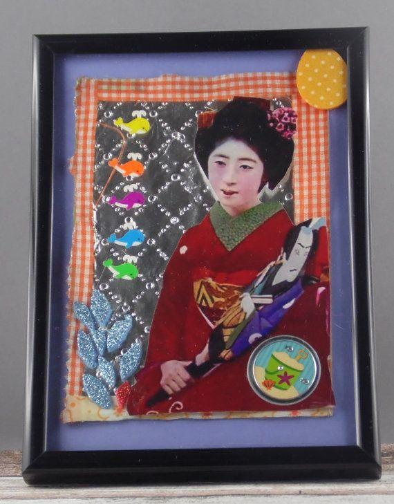 Sieh dir dieses Produkt an in meinem Etsy-Shop https://www.etsy.com/de/listing/227230676/mixed-media-kunst-geisha-farbenfrohe