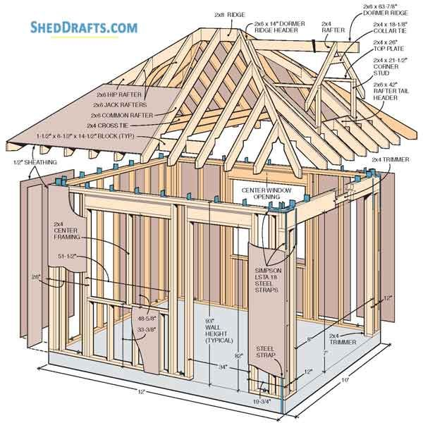 10 12 Hip Roof Storage Shed Dormer Plans Blueprints To Assemble Potting Shed In 2020 Building A Shed Shed Plans Wood Shed Plans