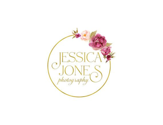 Premade Photography Logo Design and Watermark, Gold Watercolor Wreath and Flowers, Vintage Retro Rustic Flowers Logo 309