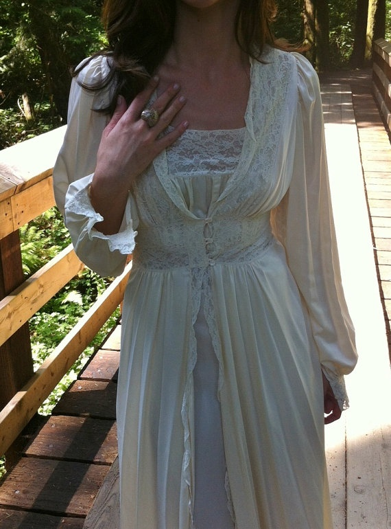 Vintage 1930s 40s Nightgown Dressing Gown . Enchanted Hollywood Lingerie . Art Deco White Buttercream Lace Dress Set.. $150.00, via Etsy.