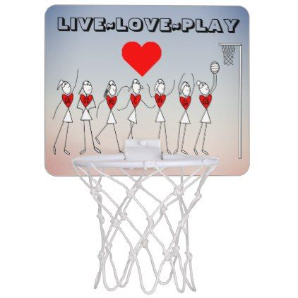 Live Love Play Netball Quote and Heart Print Mini Basketball Backboard - quote pun meme quotes diy custom