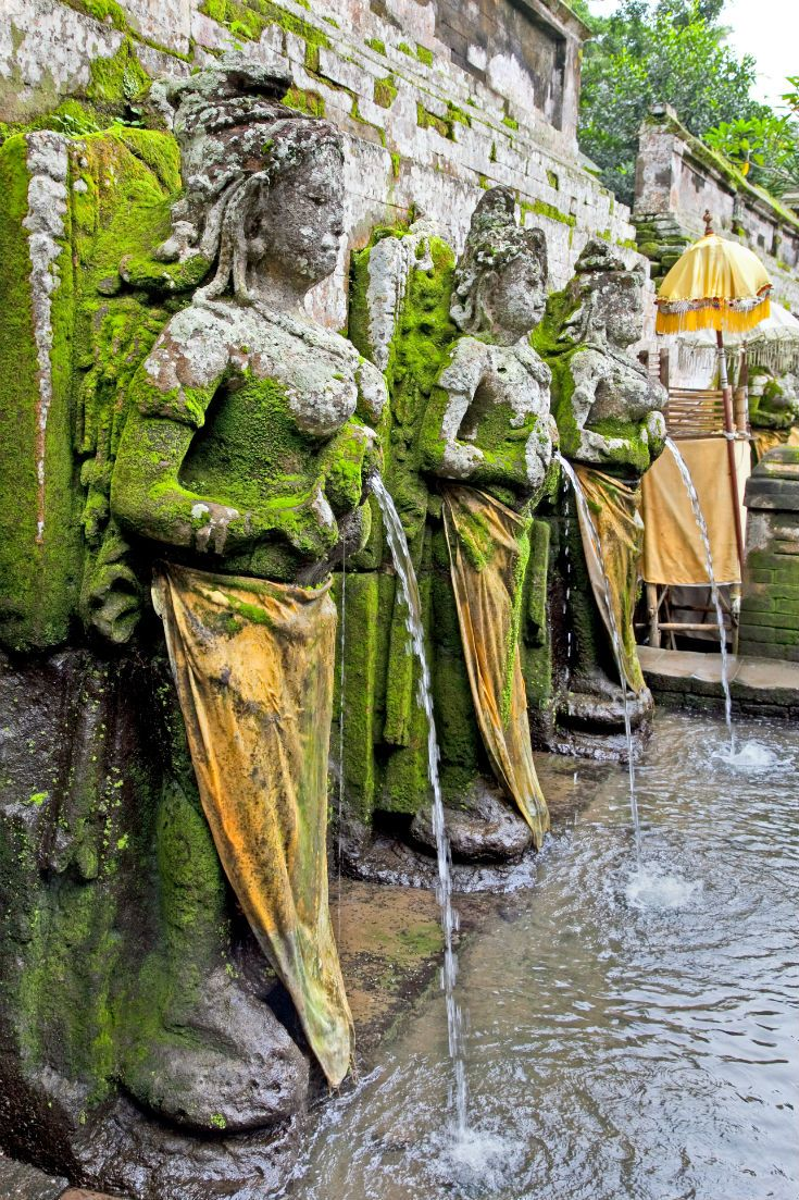 Fountains at Pura Goa Gaja, Elephant Cave Temple in Bali, Indonesia. #Bali #Indonesia