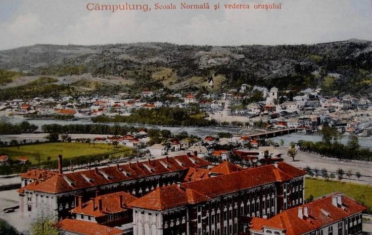 Campulung , Scoala Normala si vedere asupra orasului - interbelica