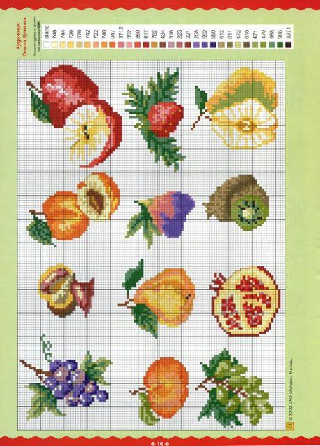 Frutas em Ponto Cruz para Jogos de Cozinha