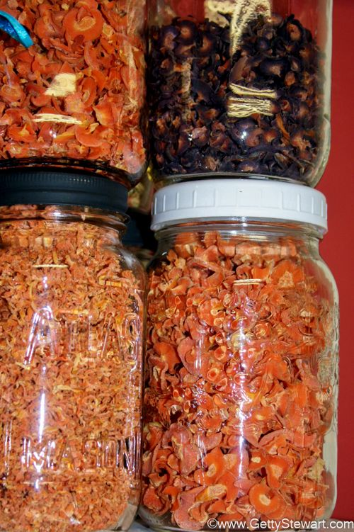 How to dehydrate carrots in a dehydrator and how to use them. Includes information on why blanching carrots before drying is important.