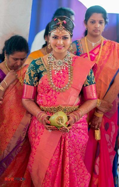 wedding saree, kanjeevaram, kanjivaram saree, pink kanchipuram saree, emerald…
