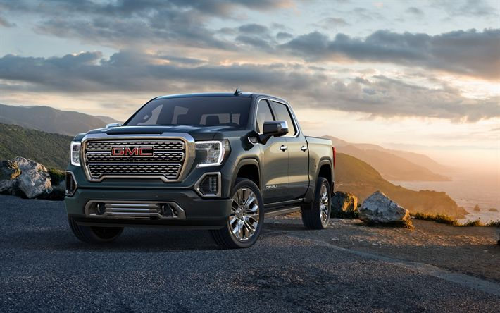 Download wallpapers GMC Sierra 1500, Crew Cab, SUV, pick-up truck, 4k, exterior, new gray Sierra 1500, front view, American cars, GMC