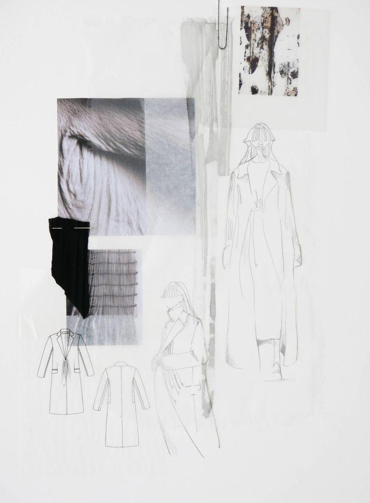 Fashion Sketchbook page - fashion sketches & design research; fashion portfolio // Dani Hermann.  sketchbook, fashion design, layout, design