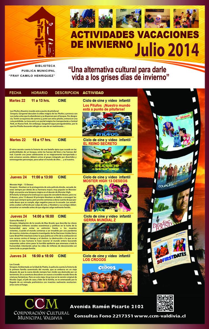 CINE EN BIBLIOTECA MUNICIPAL VALDIVIA VACACIONES DE INVIERNO JULIO 2014