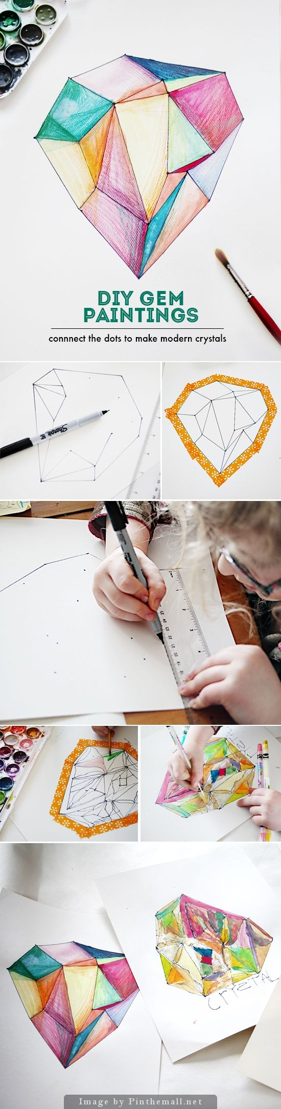 crystal gem watercolor paintings for kids: This project is fun. From the mystery of turning dots into shapes, to mixing the watercolors, to playing with the layered effects of colored pencils, there are lots of surprises to be had. It all begins by connecting the dots – are you ready?