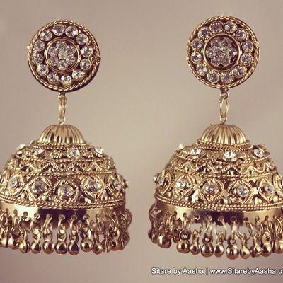Gold Jhumke Earrings $31.00  www.sitarebyaasha.com  #jewelry #jewellery #fashion #indianfashion