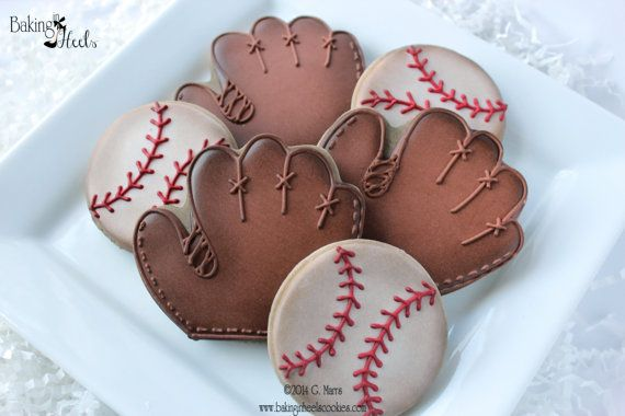 Vintage Baseball glove and baseball hand decorated sugar cookies via Bakinginheels on Etsy
