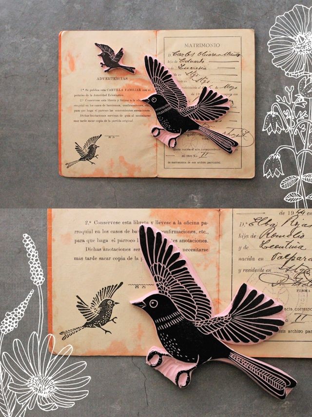 another cool hand carved bird stamp from Genine