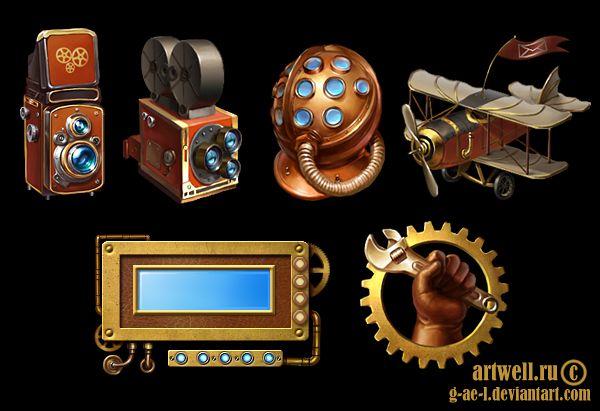 비안 트 알트에 G-AE-L 님에에 steampunk 아이콘