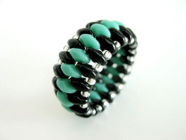 Turquoise SuperDuo Ring