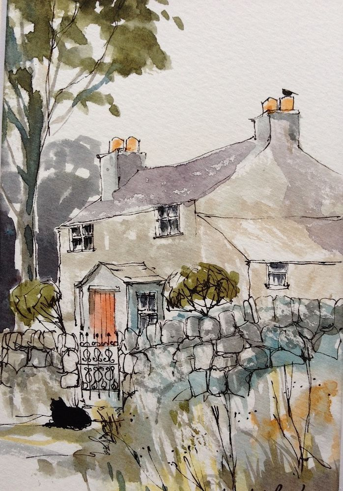Original Watercolour Landscape Painting- Country Cottage- Annabel Burton