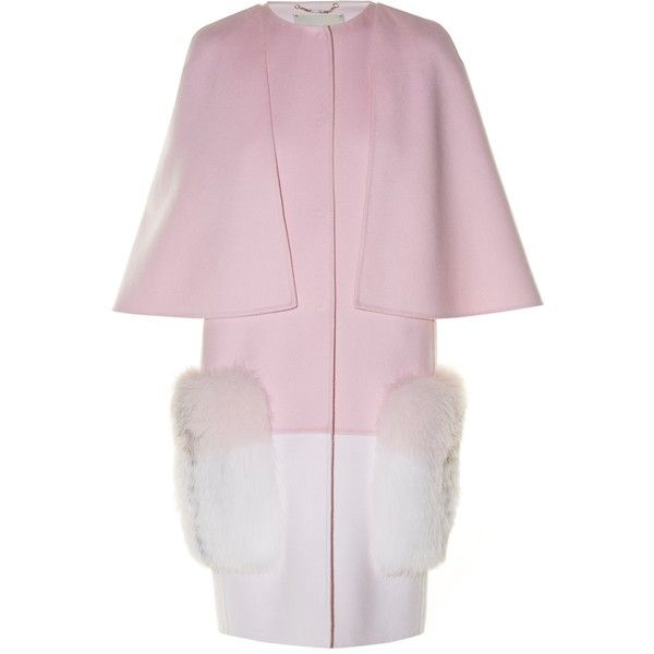 Fendi Fur-pocket bi-colour coat (€3.120) ❤ liked on Polyvore featuring outerwear, coats, pink multi, reversible coats, fendi, evening coat, fur cape coat and pink coat