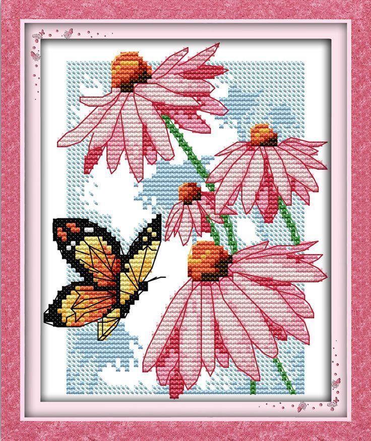 Çiçekler el üzerinde kelebekler nakış desenleri tüm çevrimiçi toptan için çapraz dikiş