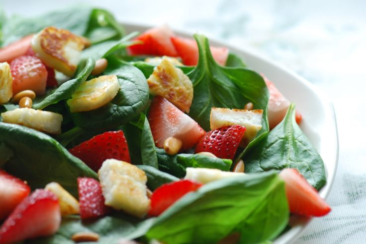Strawberry And Arugula Salad With Grilled Halloumi Recipe — Dishmaps