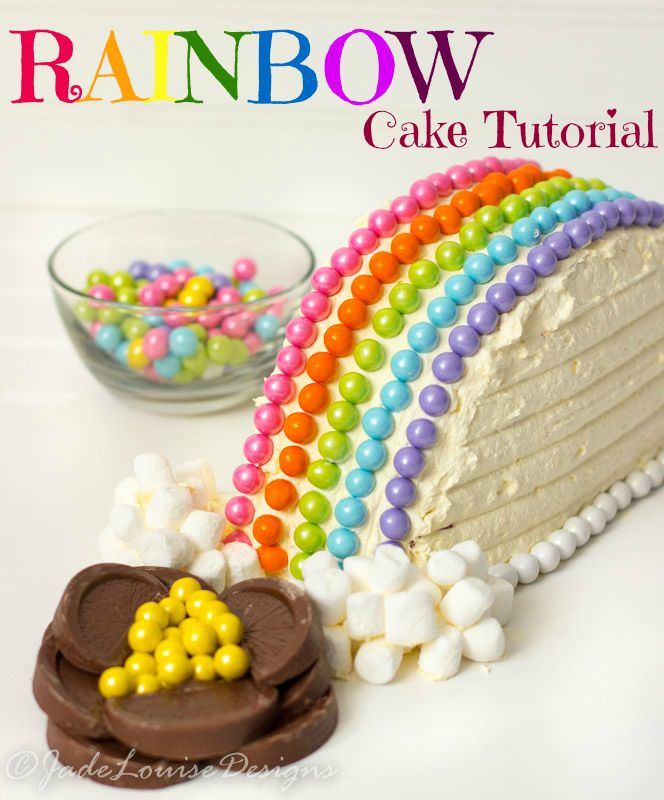 Rainbow Cake Tutorial, super easy tutorial to make an adorable cake for Spring or Saint Patricks Day. Plus so easy the kids can help!  #Cakemyday #ad