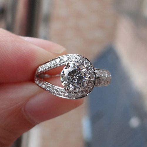 Genuine 14k White Gold 1 Carat ct No Less Than GH Color Buckle Shaped Engagement Wedding Lab Grown Moissanite Diamond Ring Price: USD 458 | United States