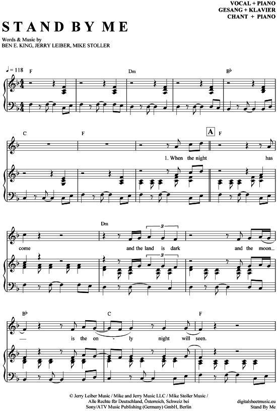 Stand by me (Klavier + Gesang) Ben E. King [PDF Noten] >>> KLICK auf die Noten um Reinzuhören <<< Noten und Playback zum Download für verschiedene Instrumente bei notendownload Blockflöte, Querflöte, Gesang, Keyboard, Klavier, Klarinette, Saxophon, Trompete, Posaune, Violine, Violoncello, E-Bass, und andere ...