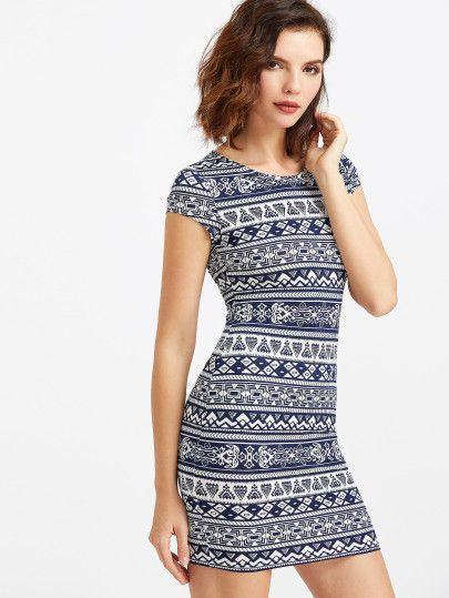 Navy And White Tribal Print Cap Sleeve Dress