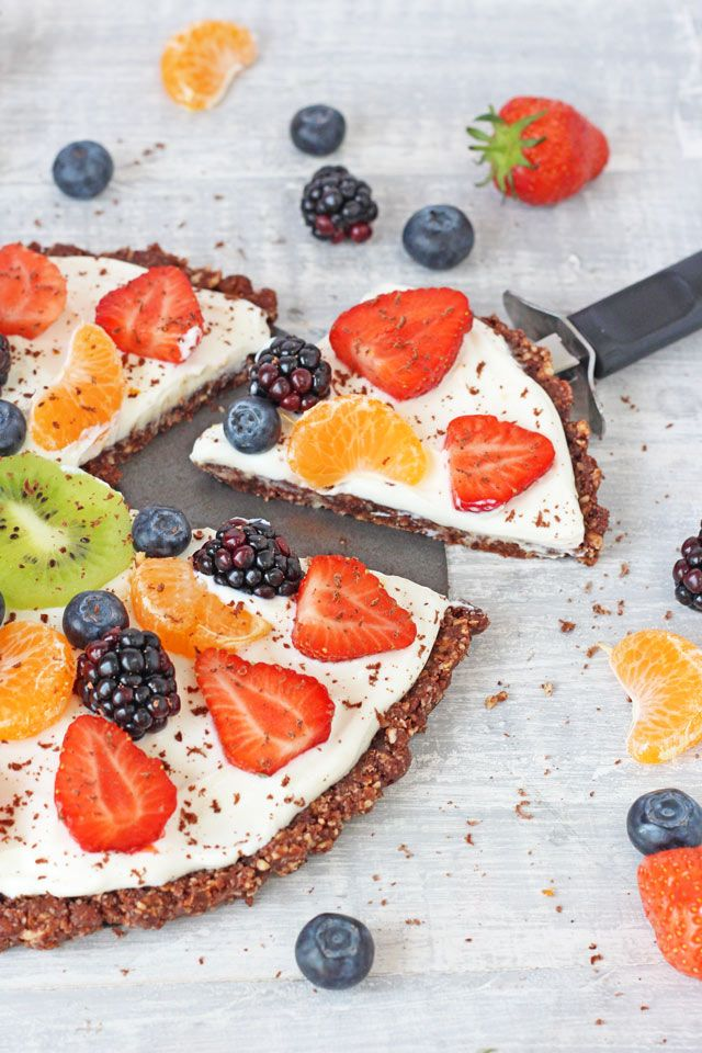 Healthy No Bake Chocolate Fruit Pizza perfect for a hot day.
